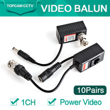 10Pairs Camera Video Balun Transceiver BNC UTP RJ45 With Video And Power Over CAT5/5E/6 Cable For HD CVI/TVI/AHD Camera