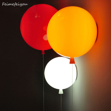 Novelty Colorful Balloon Wall lamps Modern Children bedroom Bedside wall Lights with pull switch Acrylic shade Restaurant lamp