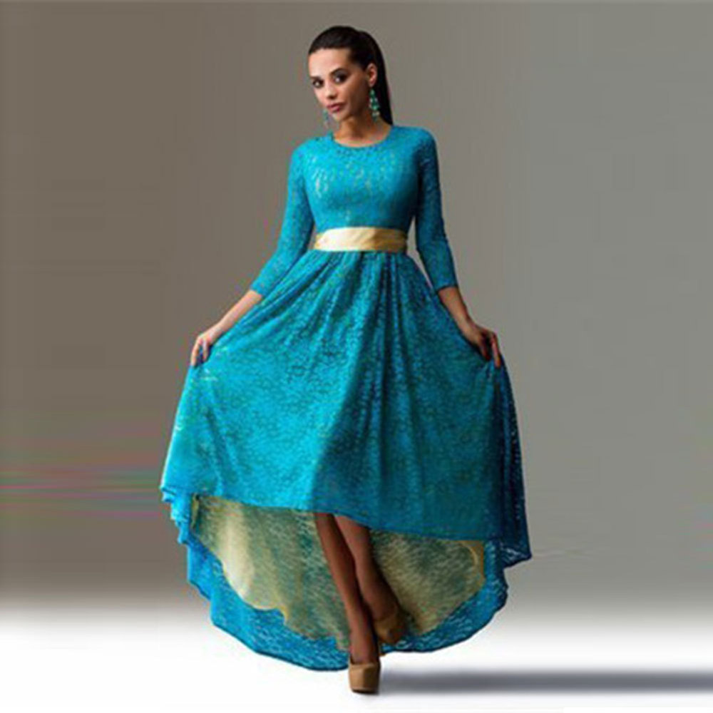 New Spring Long Dress 2016 Sexy Women Dresses Three Quarter Long Maxi Lace Dress Prom Ballgowns Asymmetrical Hem Vestidos