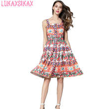 2017 Newest Fashion Runway Dress Romantic Italian Sicilian Style Rose Flowers Printed Spaghetti Strap Sexy Dress Holiday Dresses(China)