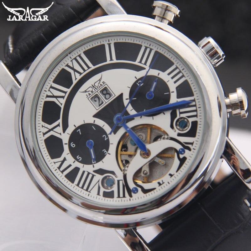 JARAGAR Brand Men Mechanical Watches Fashion Mens Automatic Tourbillon Leather Strap Watches Black Auto Date Male Wristwatches<br>