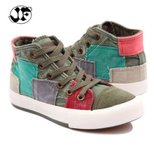 2016 New All match Women shoes high canvas shoes women fashion casual shoes for women Color block decoration