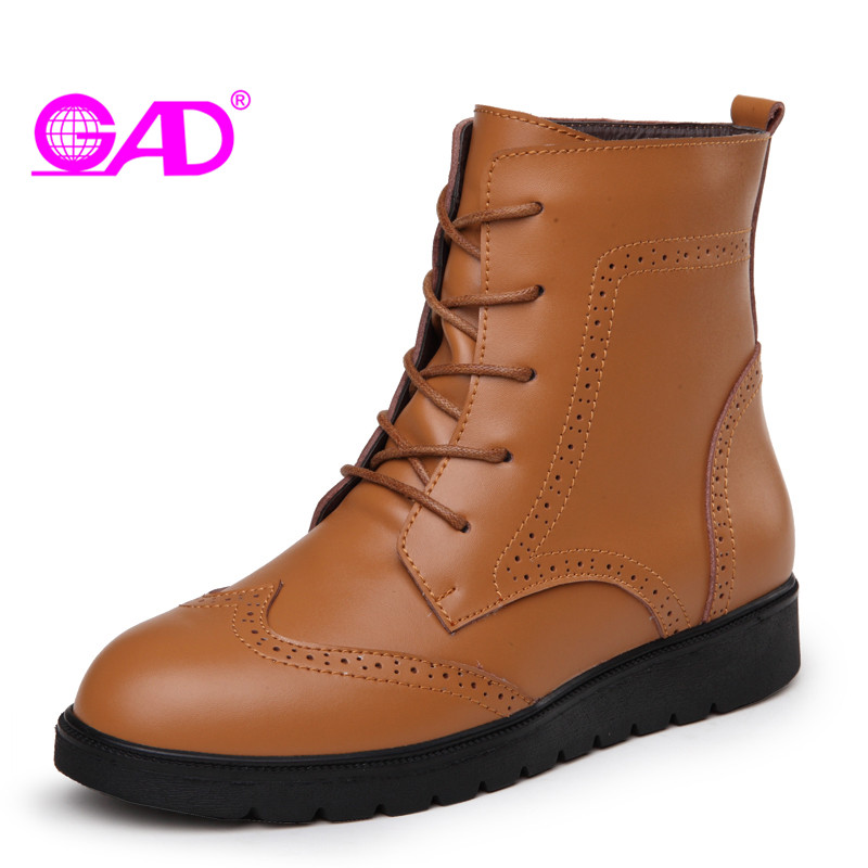 GAD Winter Warm Plush Women Boots 2017 Autumn/Winter Fashion Carved Lace-up Women Leather Ankle Boots Platform Women Shoes Boots<br>