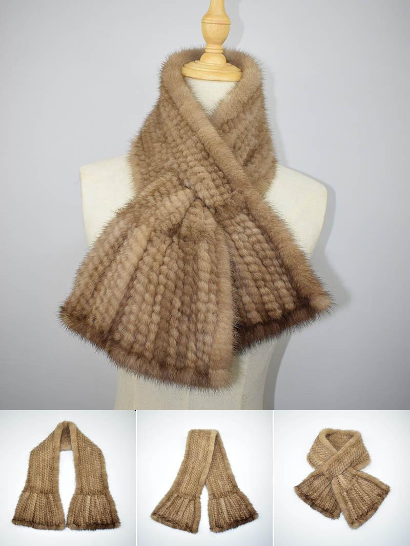 mink scarf light brown