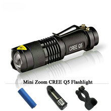 Portable mini flashlight led cree q5 3 mode lamp zoom lantern torch 2000 LM Flash Light Lanternas 14500 battery or AA baeetry
