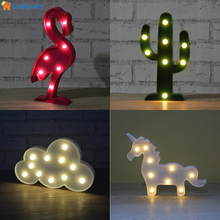 Lumiparty Led Flamingo Night Light Marquee Sign Pineapple Cactus Table Lamps Romantic Wall Lamp Kids Children Gift Home