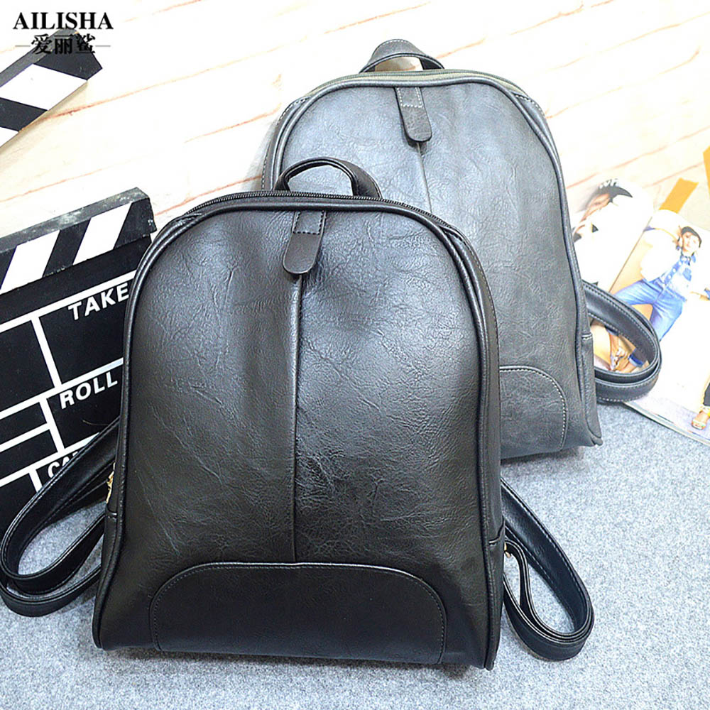 2016 NEW fashion backpack women backpack PU  Leather Solid Zipper Interior Slot Pocket school bag women Casual style A0809<br><br>Aliexpress