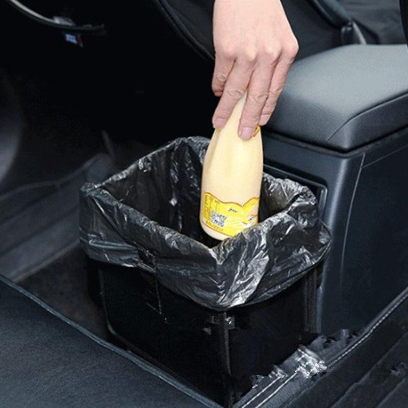 Noir Suspendre la bo/îte de rangement des d/échets Organisateur de d/échets amovible et portable Mini poubelle de voiture universel Voyage Portable v/éhicule Poubelle
