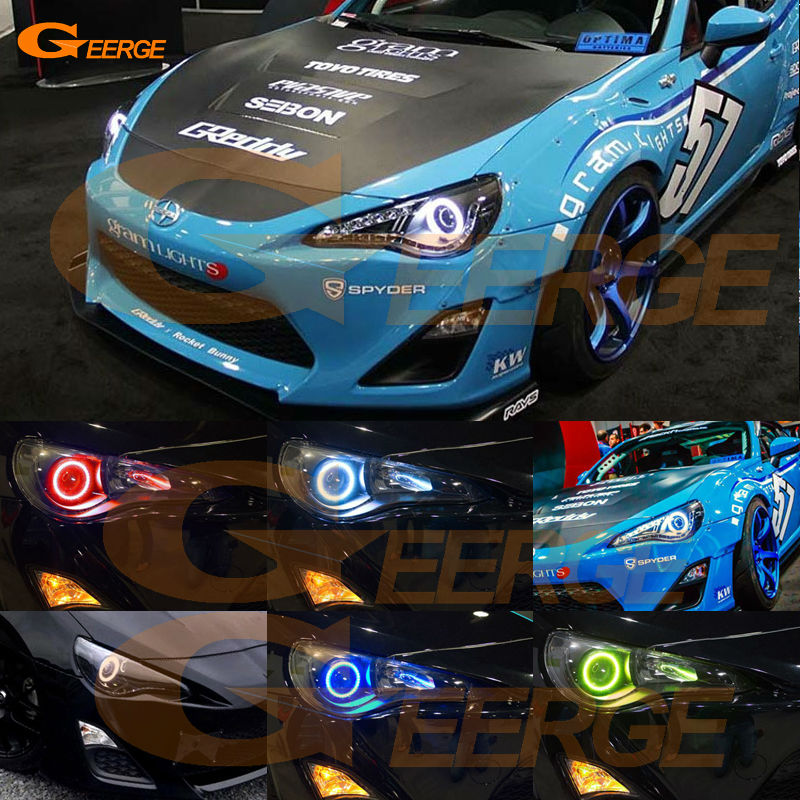 For Scion FR-S FRS 2013 2014 2015 2016 Excellent angel eyes Multi-Color Ultra bright RGB LED Angel Eyes Halo Rings kit<br>
