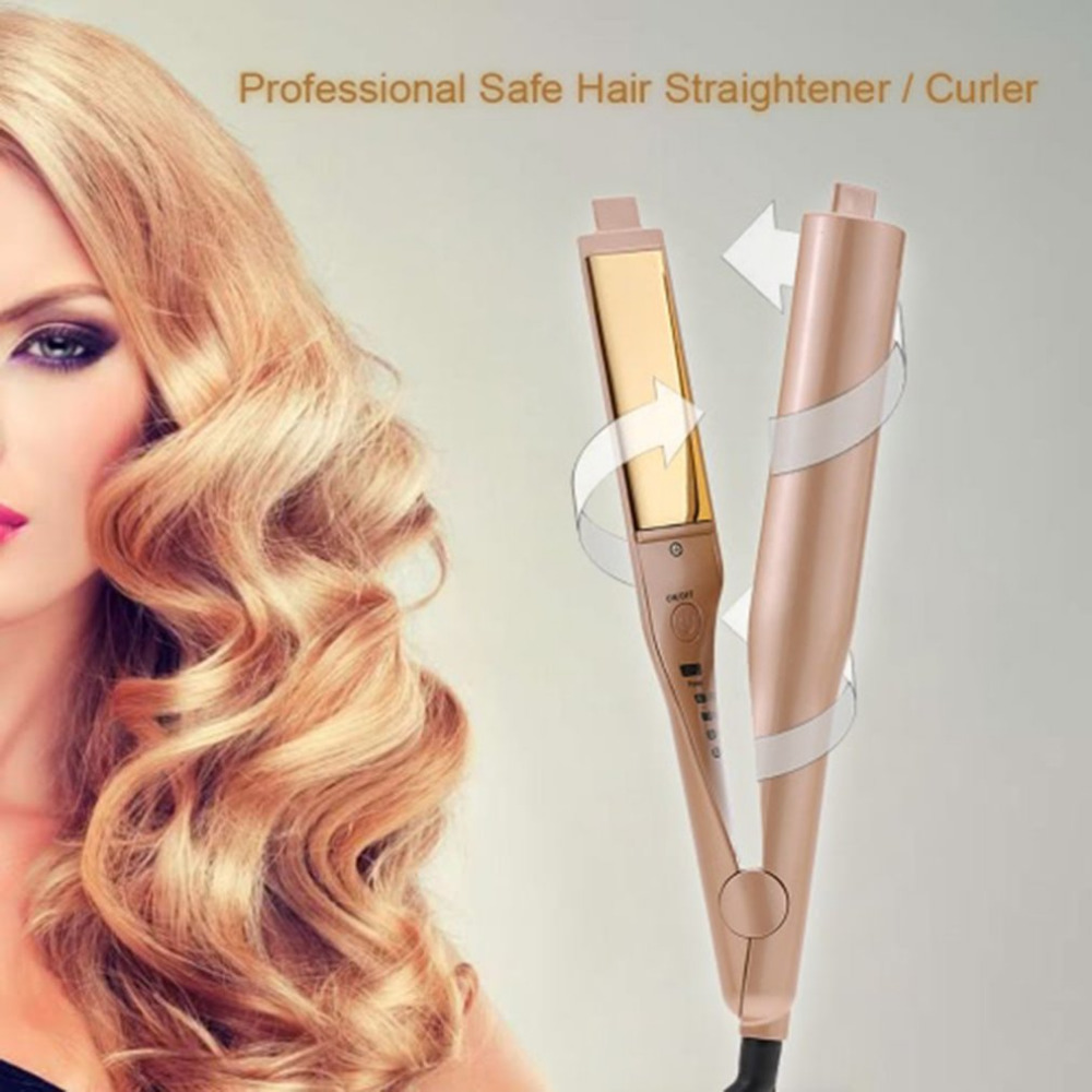 Dual-use Ceramic Board Curling Straightener Hair Straight Splint Hair Tool DIY Electric Hair Stick Curlers Hair Styling Tools<br>