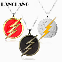 DC Comics Anime Superheroes Flashman Lighting Logo Pendant Necklace Men Fashion accessories Chain Necklace Colar(China)