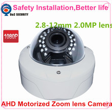 "Safety Installation Night Vision 1/2.8"" Sensor 2.8-12mm Motorized Zoom Lens H.264 HD 1080P 2.0 Mega Pixel Dome IP Camera"