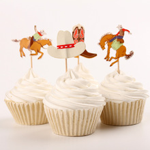 24 pcs Cowboy Cupcake Topper Cowboy Boots Hat Cupcake Picks Kids Birthday Cake Accessory Party Decoration Party Supply