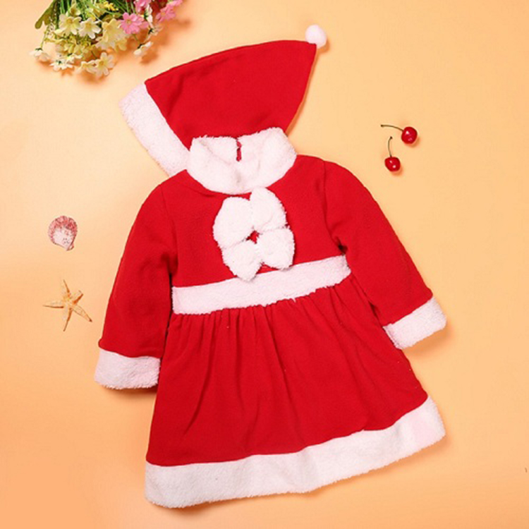 Baby Boy Girl Round Neck Long-Sleeve Pure Color Romper Santa Claus with Different Action Crawling Clothes