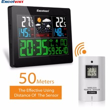 EXCELVAN Weather Station Wireless Thermometer Hygrometer Forecast Temperature Humidity Tester Clock Alarm Indoor Outdoor Probe