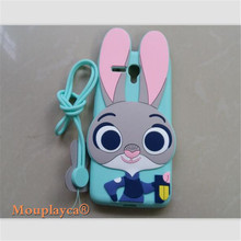 Cute cartoon Zootopia Judy Bunny soft silicone back cover cases for Alcatel One Touch Pop 3 5025D 5025 Cell phone case + Strap