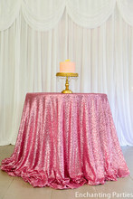 "ShinyBeauty Pink Gold Sequin Wedding Tablecloth 108"" Round  Sequin Table cloth 275cm round for party decoration"