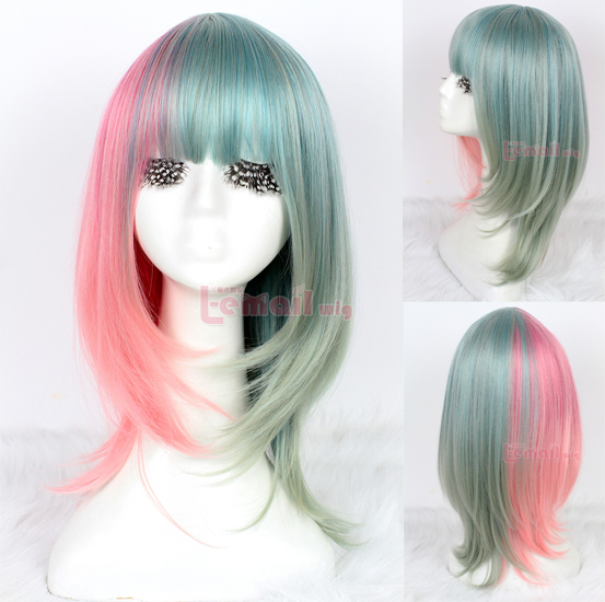 Free Shipping 30cm Halolita Anime Halloween Wig Synthetic Stragiht Green Pink Lolita Cosplay Wig<br><br>Aliexpress