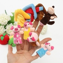1pcs 8pcs/set Colorful Three Little Pigs Kids Educational Fairy Story Animals Finger Puppets Hand Toy
