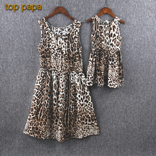 Top Papa Mother Daughter Sundress Summer Clothes Princess Children Kids Family Matching Outfit Leopard Print Beach Clothes