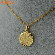 Anniyo Islam Muslim Ancient Coins Necklaces Gold Color Arab Money Sign Chain Middle Eastern Coin Items,Money Maker Gift #049606(China)