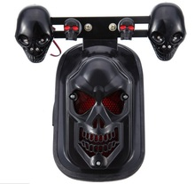 Universal Black Motorcycle Skull Turn Signal Rear Brake Tail Light For Harley Bobber Honda Yamaha(China)