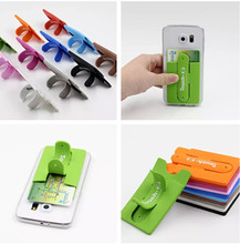 1 pc/lot 2015 Newest Fashion Silicone Touch U Type Card Sets Bracket Cell Phone Holder Stand for iPhone5s/6 plus