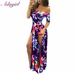 Женское пляжное длинное платье с цветочным принтом, большие размеры, летнее элегантное вечернее платье с открытыми плечами, с коротким рука...