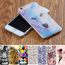 Lovely Girls Flowers Silicone Cell Phone Cases For iPhone 4S 4 5S 6 6S 7 Plus Case TPU Cover Pattern Fruits Coque Fox Animals(China)