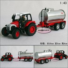 Candice guo! New arrival hot sale farm tractors series oil tank truck alloy model car toy car good for gift 1pc(China)