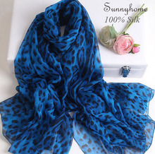 100% Nature Silk Scarf Luxury Brand Women Pure thin Silk Pashmina Summer Beach shawl Blue Leopard Print Scarves Spring Wrap
