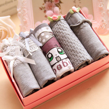 Buy girl's underwear 5pc/bag lace cotton candy low waist briefs ladies young girl panties Teenagers 5 style lovely intimate grey