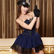 Police Fancy Halloween Costumes Sexy Cop Outfit Woman Cosplay Sexy Erotic Lingerie Female Role Play Apparel Strapless Ball Gown