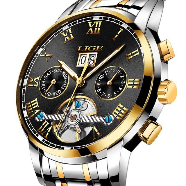 LIGE Luxury Mens Watches Business Automatic Mechanical Watch Men Full Steel Waterproof Week Date Display Clock Wristwatch<br>