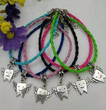 20PcsZinc Alloy Silver Lovely teeth Tooth Fairy charms Mix PU Leather Cords Protection Good Luck Bracelets&Bangle DIY Jewelry