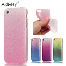 PINK For Coque iPhone 5c Case Luxury Silicone Glitter Bling Back Cover fundas For iPhone 5 c Transparent Edge Gradient Cases(China)