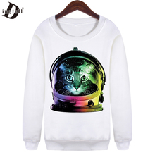 Dingtoll 2016 Women Space Cat Hoodies Casual Women Long Sleeve Crew Neck Sweatshirts Hipster  WMH116