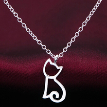 Unique design Silver plated Funky Cute Kitty Cat necklace pendant silver color pet animal cat lover jewelry for women girls(China)