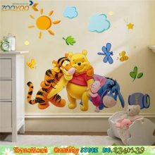 Cartoon Winnie The Pooh Tigger Pink Pig Wall Sticker For Baby Nursery Kids Room Wall Decors DIY Boys Girls Bedroom Wall Stickers