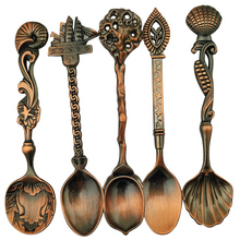 2017 New 5pcs/Set Kitchen Dining Spoon Set Silver&Antique Copper Tableware Coffee Spoon Flatware Dessert Spoons