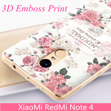 "WeiFaJK Phone Case for Xiaomi Redmi Note 4 Cases Girl Emboss Print Rose Flower Cover Clear TPU Silicon Shell Soft Cases 5.5""inch"