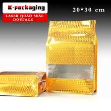 5 pcs 20x30cm Laser Foil Window Flat Bottom Food Pouch / Retail Packaging Bags For Nuts / Plastic Zip Bag With Window