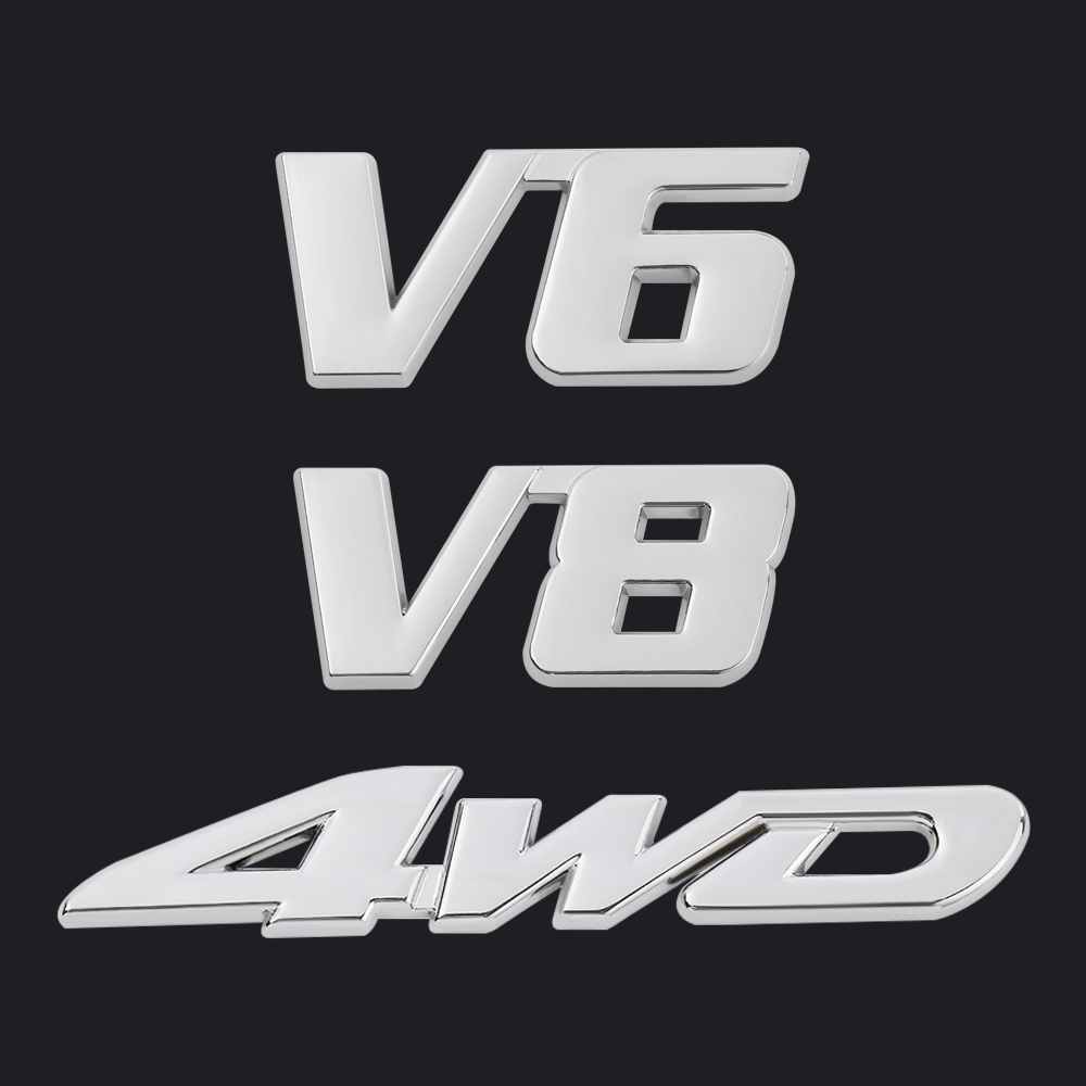 Car Metal Silver V8 Logo 3D Decal Badge Emblems Sticker Auto Number Stickers