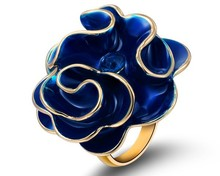 Blue Enamel & Austria Crystal Ring Big Flower Ring Brand Design Jewelry Girlfriend Women Accessories Love Jewelry Party Gifts(China)