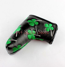 Free Shipping Brand New Golf Lucky Clover Black Velcro Closure Putter Cover Blade Headcovers