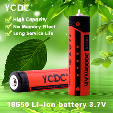 YCDC 2PCS Rechargeable 18650 Batteries 3.7V 3000 mAh Lithium li-ion Battery for LED Flashlight Orange Color With battery Storage