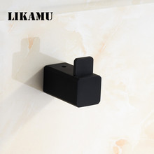 Robe Hook for Bathroom Accessory wall cloth hook Black Square Hook Stainless SteelWall Hanger Rack Holder(China)
