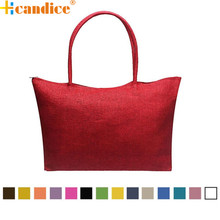 Hcandice Best Gift New Fashion Simple Candy Color Large Straw drop ship beach Bags Women Casual Shoulder Bag