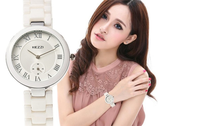 KEZZI Brand Lady New Design Fashion Casual Ceramic Watch Women Gold Sliver Wrist Watches Female Clock Relogio Feminino k1438<br>