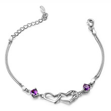 New Summer Style Romantic Double Heart Bracelet Femme Silver Plated Women Wedding Crystal Bracelets Pulseras Fine Jewelry